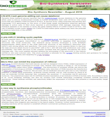 Bio-Synthesis Newsletter - August 2018