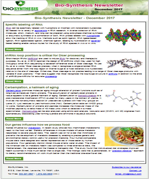 Bio-Synthesis Newsletter - December 2017