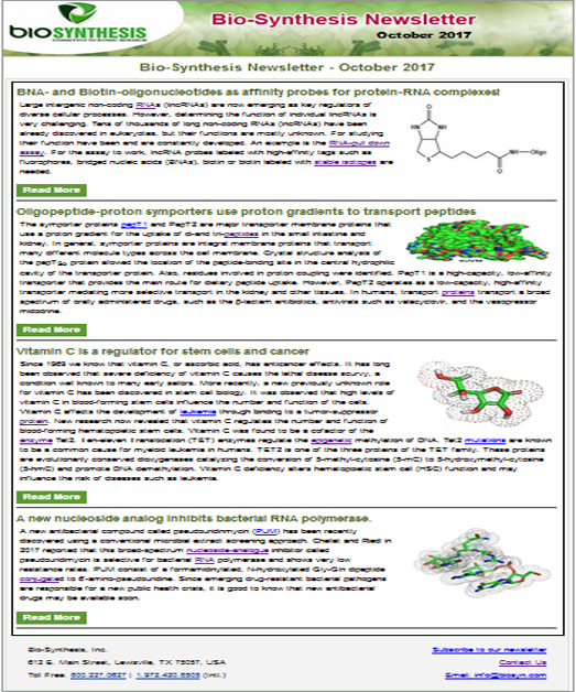 Bio-Synthesis Newsletter - october 2017