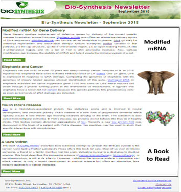 Bio-Synthesis Newsletter - September 2018