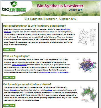 Bio-Synthesis Newsletter - October 2016