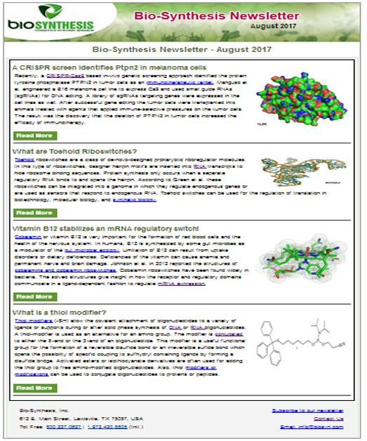 Bio-Synthesis Newsletter - August 2017