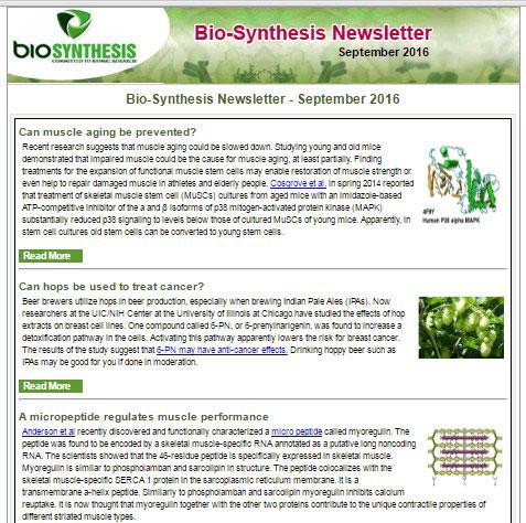 Bio-Synthesis Newsletter - September 2016