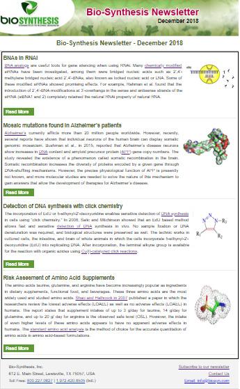 Bio-Synthesis Newsletter - December 2018