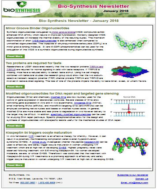 Bio-Synthesis Newsletter - January 2020