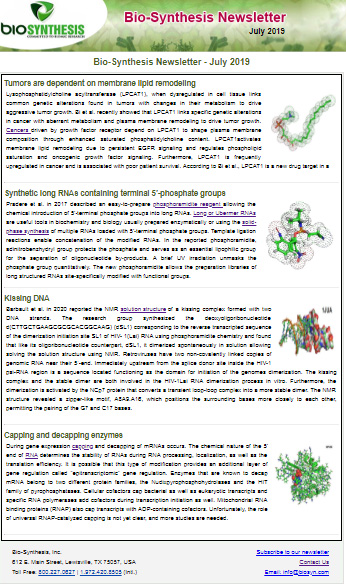 Bio-Synthesis Newsletter - July 2019