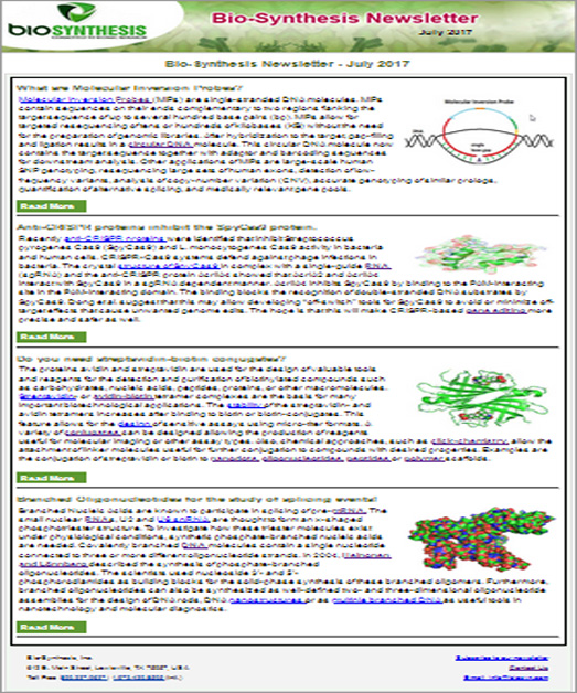 Bio-Synthesis Newsletter - July 2017