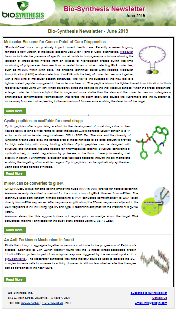 Bio-Synthesis Newsletter - June 2019