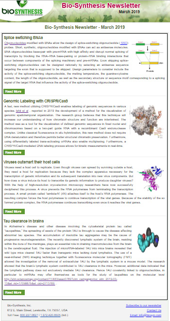 Bio-Synthesis Newsletter - March 2019