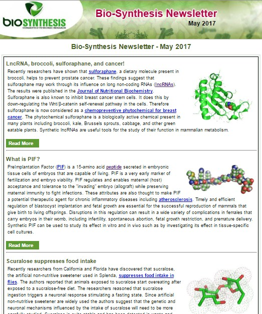 Bio-Synthesis Newsletter - May 2017