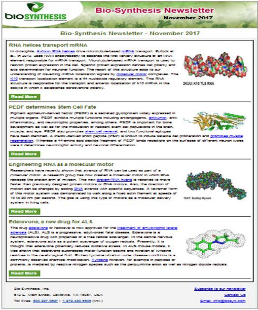 Bio-Synthesis Newsletter - November 2017